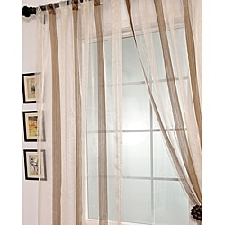 Signature Havannah Cocoa Striped Linen and Voile Weaved Sheer Curtain