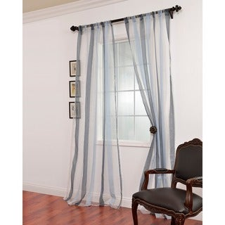 EFF Signature Havannah Blue Striped Linen and Voile Weaved Sheer Curtain