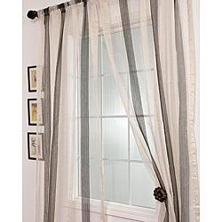 Signature Havannah Ash 84-inch Striped Linen and Voile  Sheer Curtain