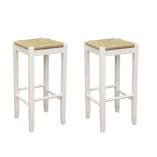 Roanoke White Wood 24 Inch Counter Stools Set Of 2