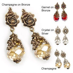 Sweet Romance Crystal French Rose Earrings