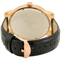 Joshua & Son's Men's Dual Time Rose Gold Circle Watch