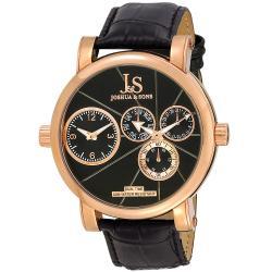 Joshua & Son's Men's Dual Time Rose Gold Circle Watch