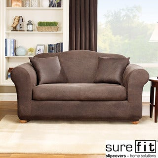 Sure Fit Stretch Leather 2-Piece Sofa Slip Cover
