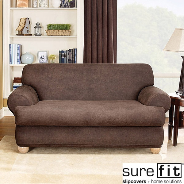 Sure Fit Brown Stretch T Cushion 2 Piece Loveseat Slipcover 14064166 Shopping
