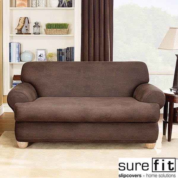 Sure fit brown stretch t cushion 2 piece loveseat slipcover 14064166 shopping Loveseat stretch slipcovers