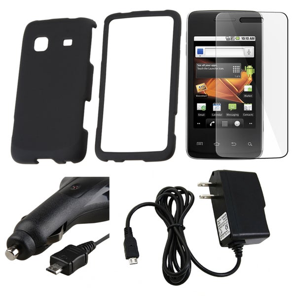 Black Case/ LCD Protector/ Chargers for Samsung Galaxy Prevail M820