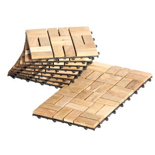 Le click Flex Interlocking Teak Decktiles (Pack of 10)