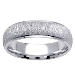 14k White Gold Men's Brushed Wedding Band