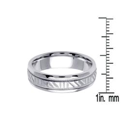 14k White Gold Men Wedding Band