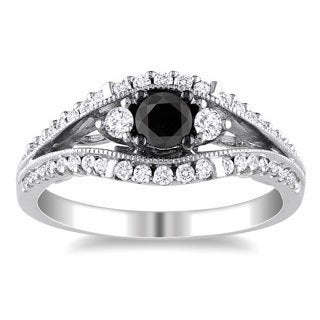 Miadora 10k White Gold 3/4ct TDW Black and White Diamond Ring (H-I, I2-I3)