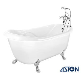 Aston 67-in x 35-in Claw-Foot Freestanding Tub in White with Tub-Mount Faucet in Chrome