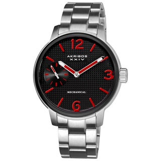 Akribos XXIV Men's Mechanical Bracelet Watch with Red Hands