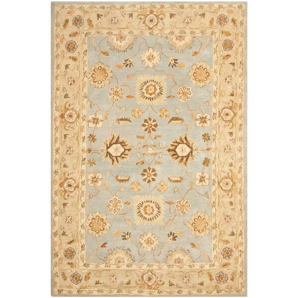 Safavieh Handmade Anatolia Farahan Light Blue/ Sage Wool Rug (6' x 9')