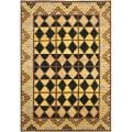 Hand-knotted Gabeh Tribal Black/ Gold Wool Rug (4' x 6')