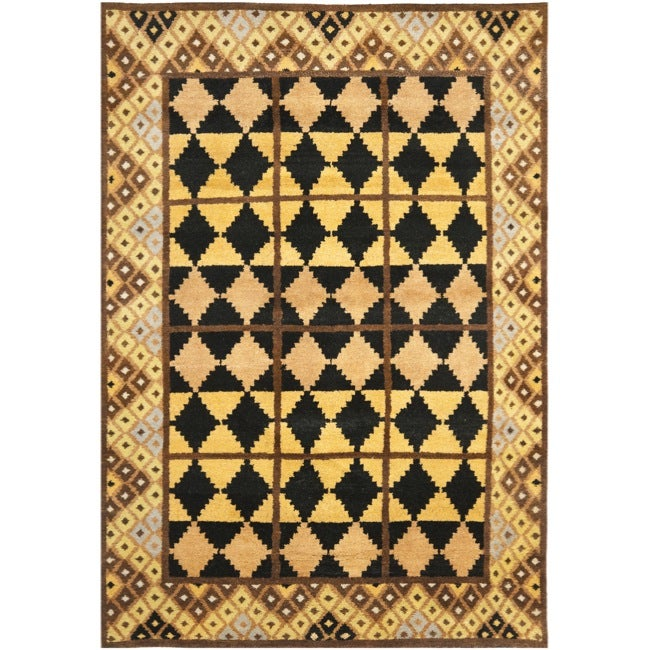 Safavieh Hand-knotted Gabeh Tribal Black/ Gold Wool Rug (6' x 9')