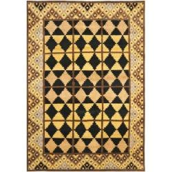 Hand-knotted Gabeh Tribal Black/ Gold Wool Rug (6' x 9')