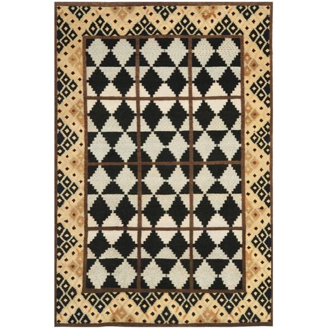 Safavieh Hand-knotted Gabeh Tribal Black/ Multi Wool Rug (6' x 9')