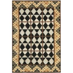 Hand-knotted Gabeh Tribal Black/ Multi Wool Rug (6' x 9')