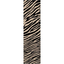 Hand-knotted Zebra Animal Print Parsely Semi-Worsted Wool Rug (2'6 x 10')