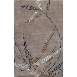Smithsonian Collection Hand-knotted Taupe Grey Floral Wool Rug (2'6 x 10')