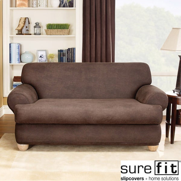 Sure Fit Stretch Faux Leather 2-piece T-cushion Sofa Slipcover