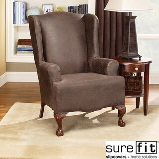 Stretch Faux-leather Wing Chair Slipcover