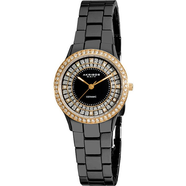 Akribos XXIV Women's Slim Black Ceramic Quartz Watch