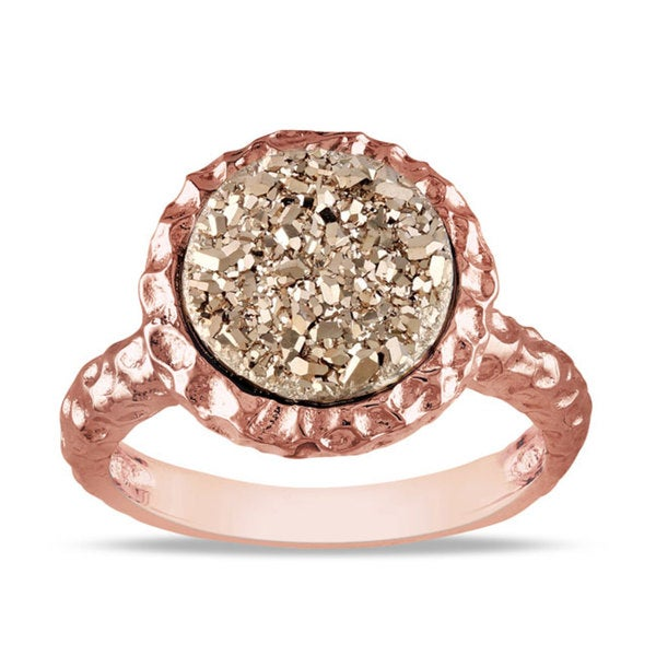 M by Miadora Yellow/Rose-Plated Silver Golden Druzy Ring