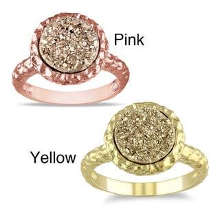 Miadora  Yellow/Rose-Plated Silver Golden Druzy Ring