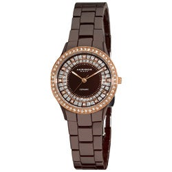 Akribos XXIV Women's Slim Brown Ceramic Quartz Watch