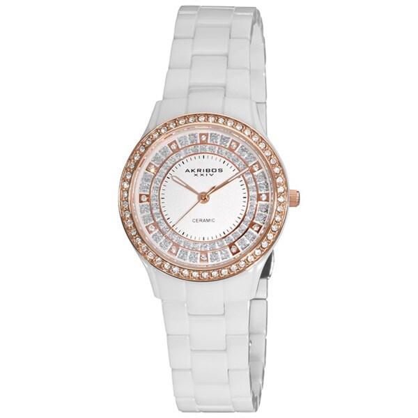 Akribos XXIV Women's Slim White Ceramic Quartz Watch