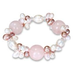 Miadora Freshwater Pearl and Rose Quartz Stretch Bracelet (6-9 mm)