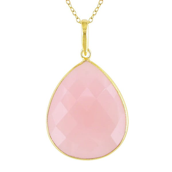 M by Miadora 22k Yellow Gold Overlay Rose Quartz Necklace