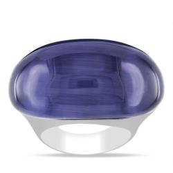 Miadora Sterling Silver Blue Simulated Cat's Eye Cocktail Ring
