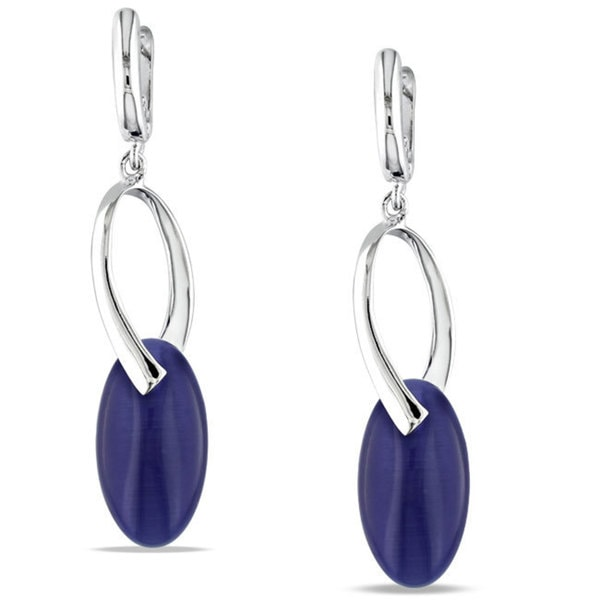 M by Miadora Sterling Silver Blue Simulated Cat's Eye Dangle Earrings
