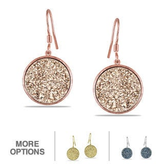 Miadora Gold Plated Silver Rose/Blue Druzy Gemstone Earrings