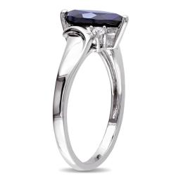 Miadora  Sterling Silver Created Sapphire and Diamond Accent Ring (GH, I3)
