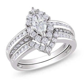Miadora 14k Gold 1 1/2ct TDW Marquise Halo Diamond Bridal Set (G-H, I1-I2)