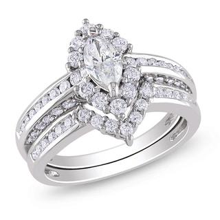 Miadora Signature Collection 14k Gold 1 1/2ct TDW Marquise Halo Diamond Bridal Set (G-H, I1-I2)