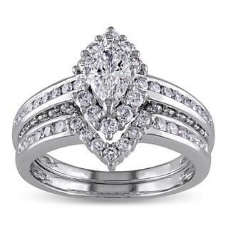 Miadora 14k Gold 1 1/2ct TDW Marquise Halo Diamond Bridal Set (G-H, I1-I2)