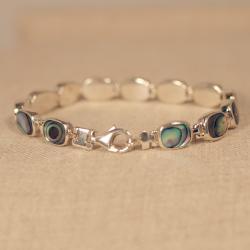 Peyote Bird Designs Sterling Silver Abalone Tennis Bracelet (Thailand)
