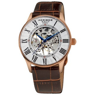 Akribos XXIV Slim Men's Mechanical Rose-Tone Watch