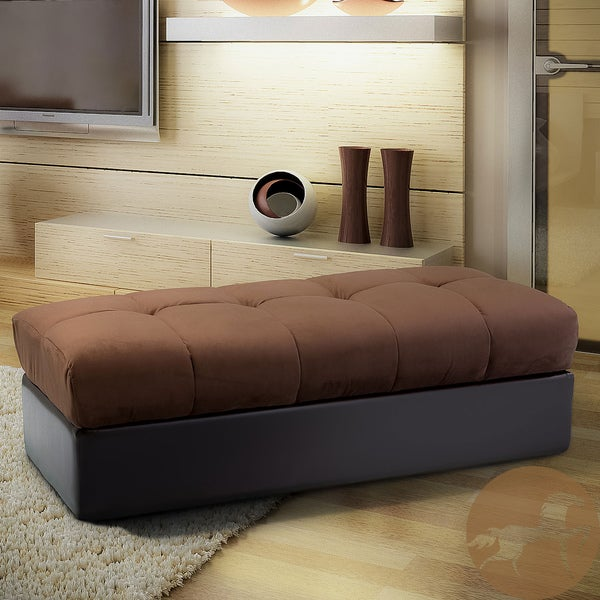 Christopher Knight Home Jackson Brown Leather/ Microfiber Storage Ottoman