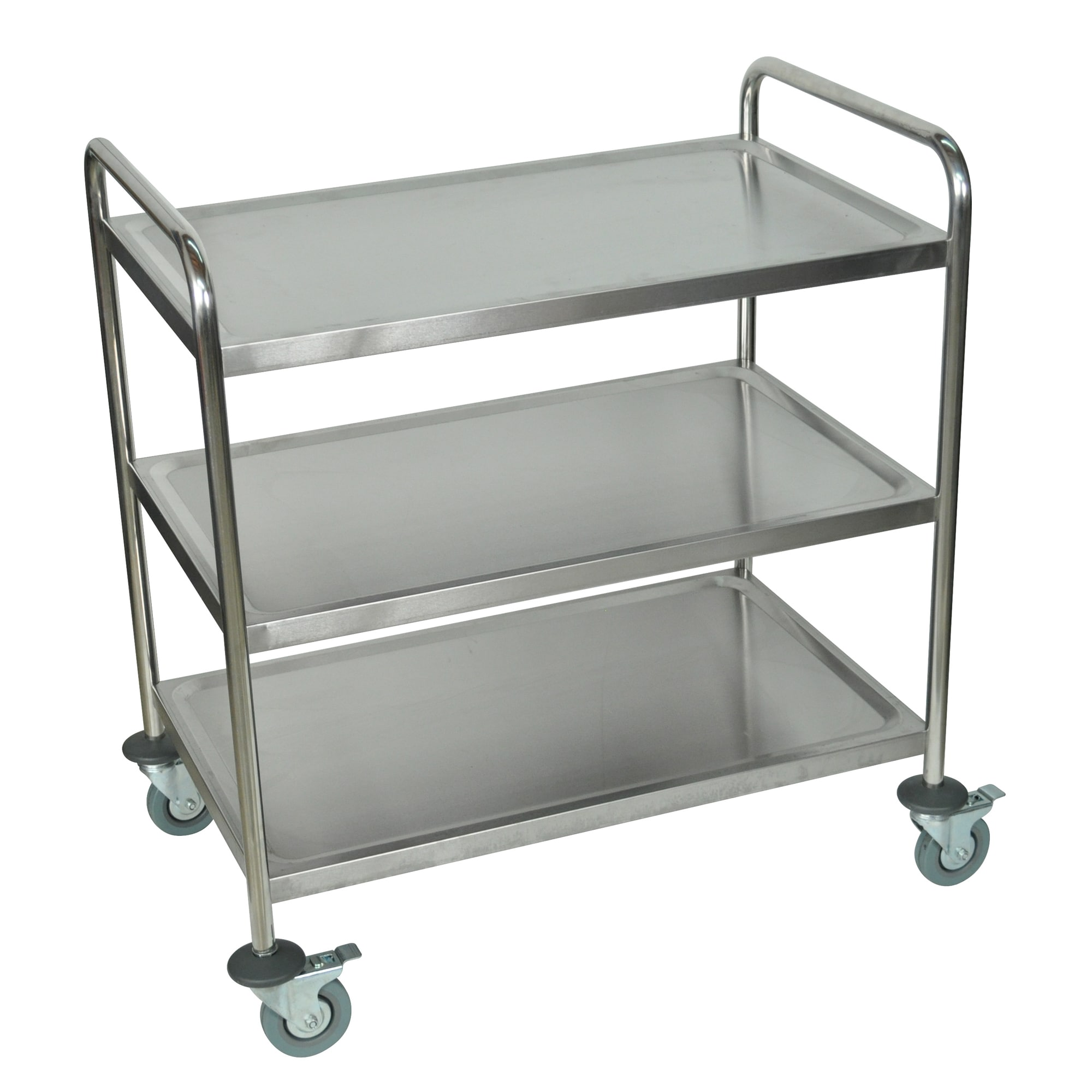 Luxor Silver Three Shelf Rolling Stainless Steel Kitchen Cart Overstock Shopping The Best