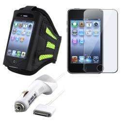 Green Armband/ LCD Protector/ Car Charger for Apple iPod Generation 3