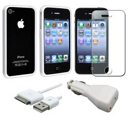 White TPU Bumper Case/ LCD Protector/ USB Cable for Apple iPhone 4S