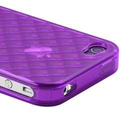 Purple Diamond Case/ LCD Protector/ Cable/ Charger for Apple iPhone 4S