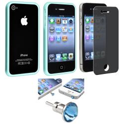 Blue TPU Bumper Case/ LCD Protector/ Dust Cap for Apple iPhone 4S