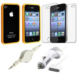 Orange Bumper Case/ LCD Protector/ Cable/ Charger for Apple iPhone 4S